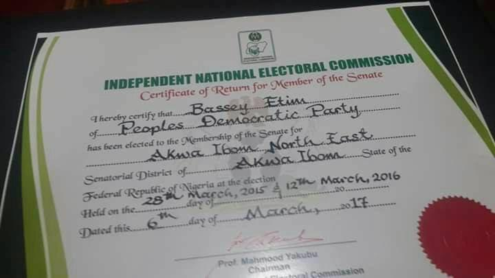 INEC issues certificate of return as Senator-elect to Bassey Etim