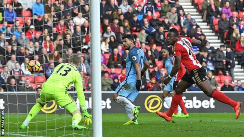 Man City up to third as Aguero and Sane see off Sunderland