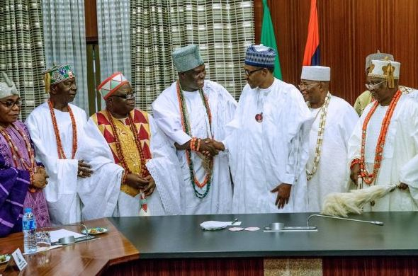 Photos: Buhari receives Ooni, Awujale, other monarchs in Aso Villa